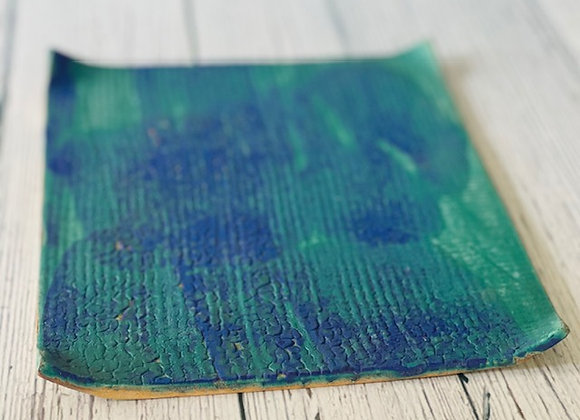 Handmade Blue with Green Flat Appetizer/Sushi Plate