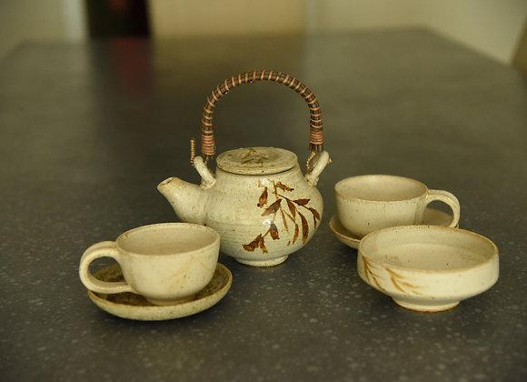 Handmade Pottery Ceramic Tea Set - 6 pieces Handmade Pottery Tea Pot, 2 Tea Cups and  2 Saucers ad 1 Snack Bowl