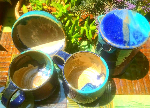Handmade Ceramic Blue Coffee Set with a Coffee Pot, 2 Mugs and a Bowl all with a blue beige interior