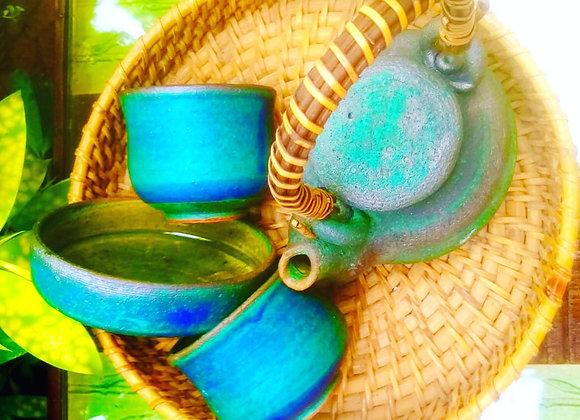 Handmade Pottery Seaweed Green Tea Set with a Tea pot, 2 Mugs and a Bowl