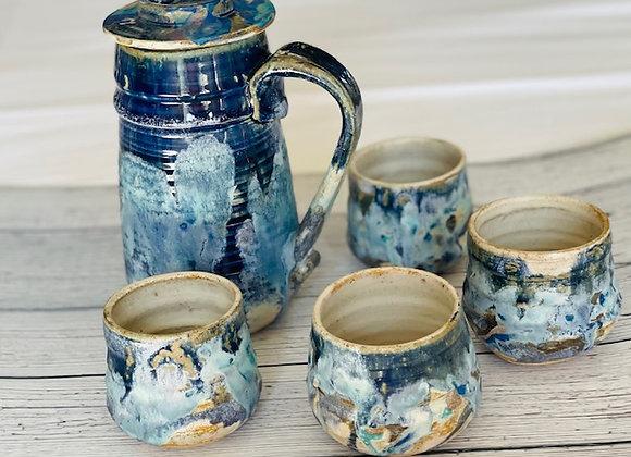 Handmade Ceramic PersianTea Set of 5 with a Tea Pot and 4 Tea Cups