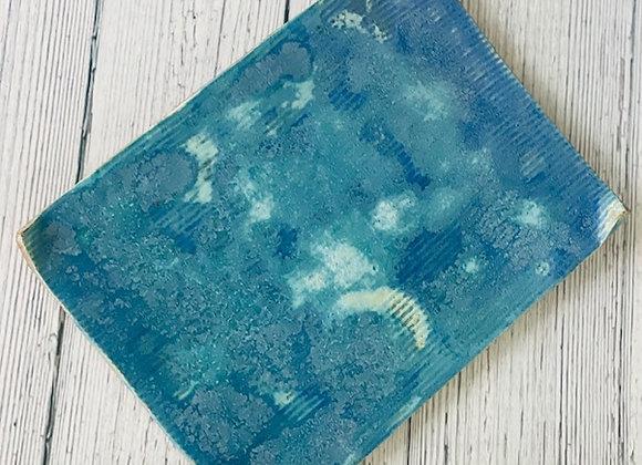 Handmade Cloudy Blue Flat Appetizer/Sushi Plate