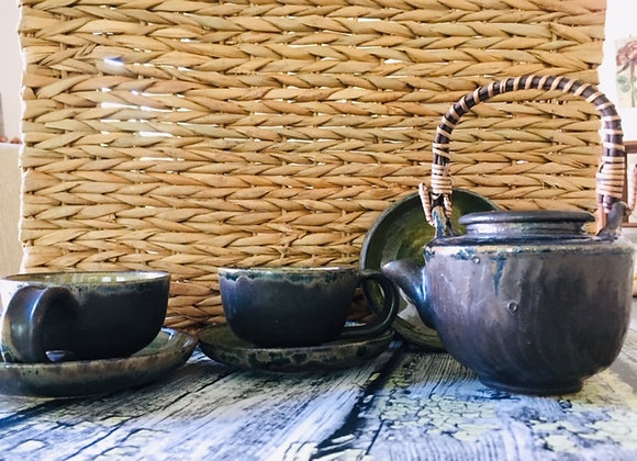 Handmade Ceramic Midnight Zen Tea Set - Modern Artisan Tea Pot, 2 Tea Cups ad 2 Saucers ad 1 Snack Dish