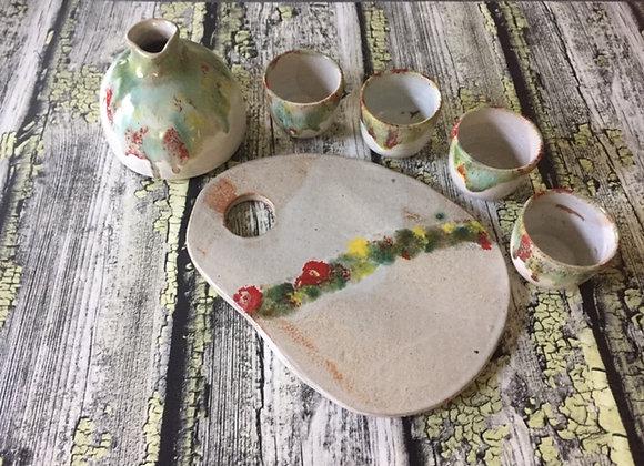 Handmade Ceramic Sake Set - Modern Artisanal  6 piece Sake Carafe and Sake Cups