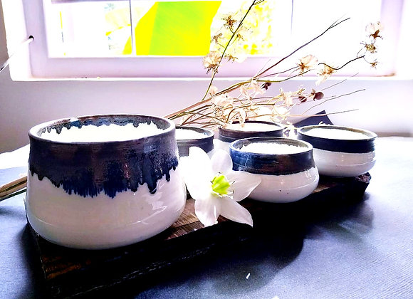 Handmade Porcelain White Soup Set of 5 bowls with Grey blue dripping glaze on the outside