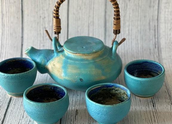 Handmade Blue Ceramic Tea Set - 5 pieces Handmade Pottery Tea Pot and 4 Tea Cups