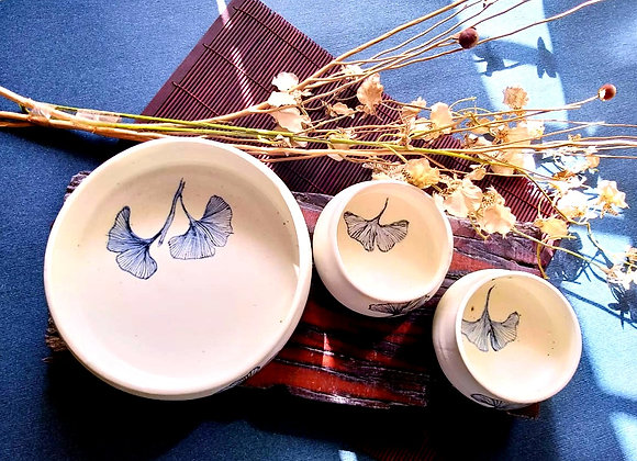 Handmade Pottery Porcelain Bowls -White Floral Soup and Salad set of 3 with hand painted blue florals on the interior
