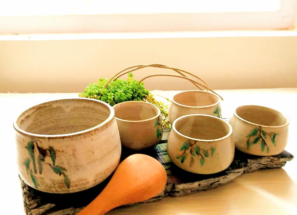 Handmade Pottery Beige Soup Set of 5 bowls with hand painted florals on the exterior