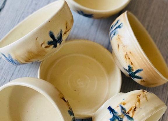 Handmade Ceramic Summer Floral  Dessert Bowl Set - 6 Pieces