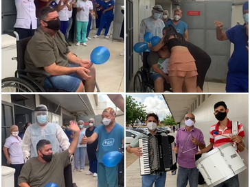Juazeiro-BA: Paciente vence Covid-19 e é recepcionado com forró na saída do Hospital