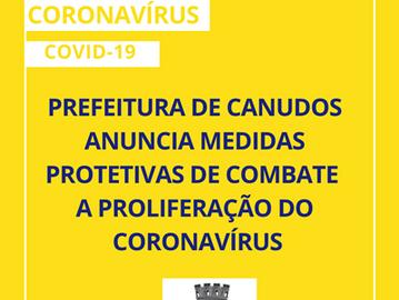 Prefeitura de Canudos anuncia medidas protetivas de combate a proliferação do Coronavírus