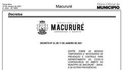 Macururé-BA: Prefeitura publica novas medidas de enfrentamento ao Covid-19