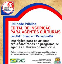 Pref. de Canudos lança edital para repassar recursos da Lei Aldir Blanc à trabalhadores da Cultura