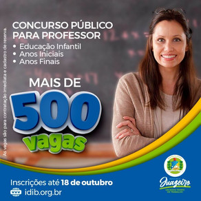 Inscrições para concurso na área de Educação na Prefeitura de Juazeiro-BA termina hoje (18)