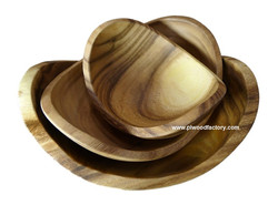 A single piece of Acacia wood nesting bowl