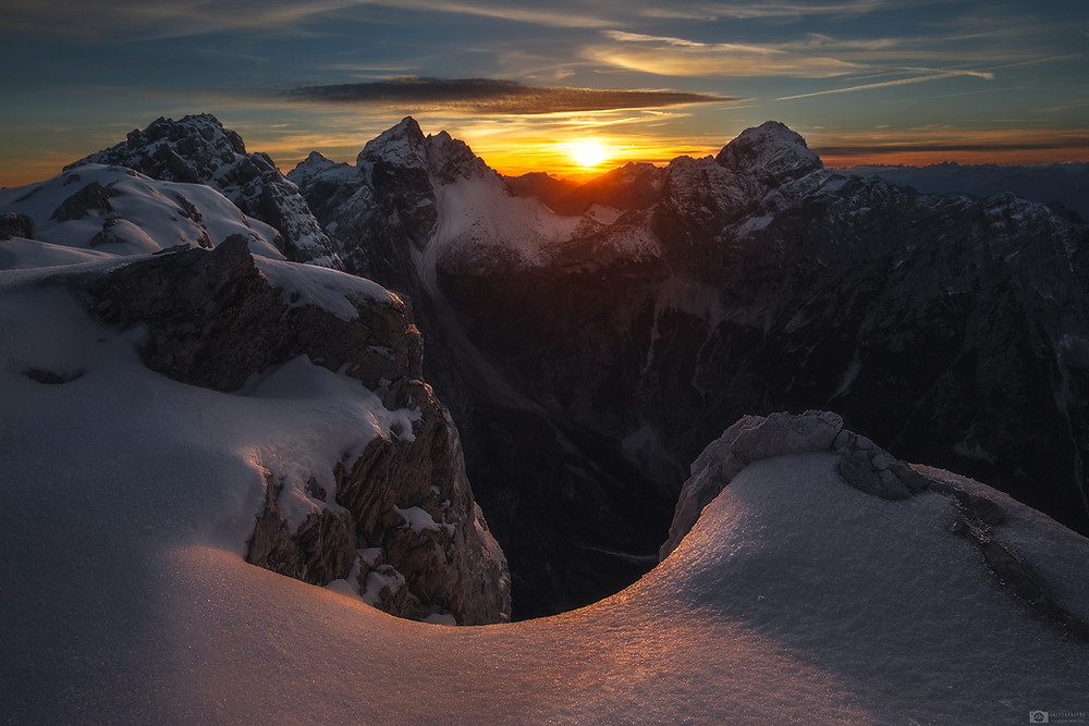 Sunset above Julian Alps