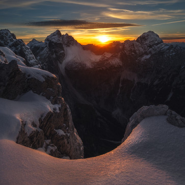 Sunset hike in the Julian Alps