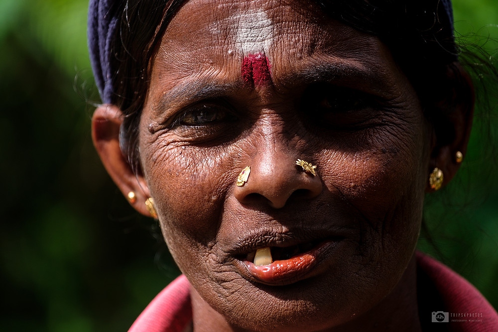 A Tamil lady stands on the road in central Sri Lanka