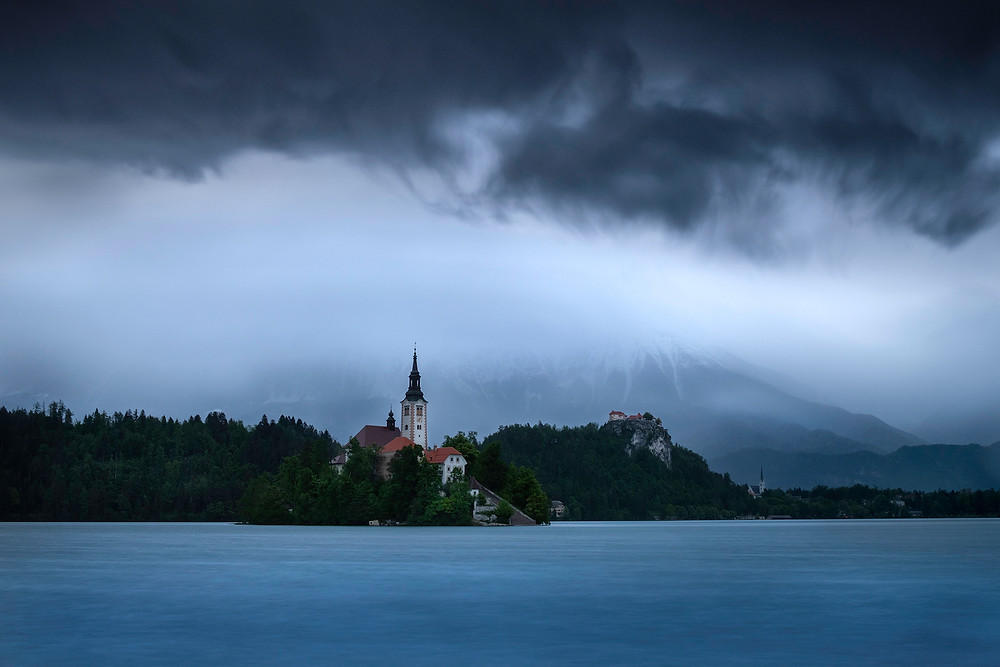 Bled lake during snowstorm