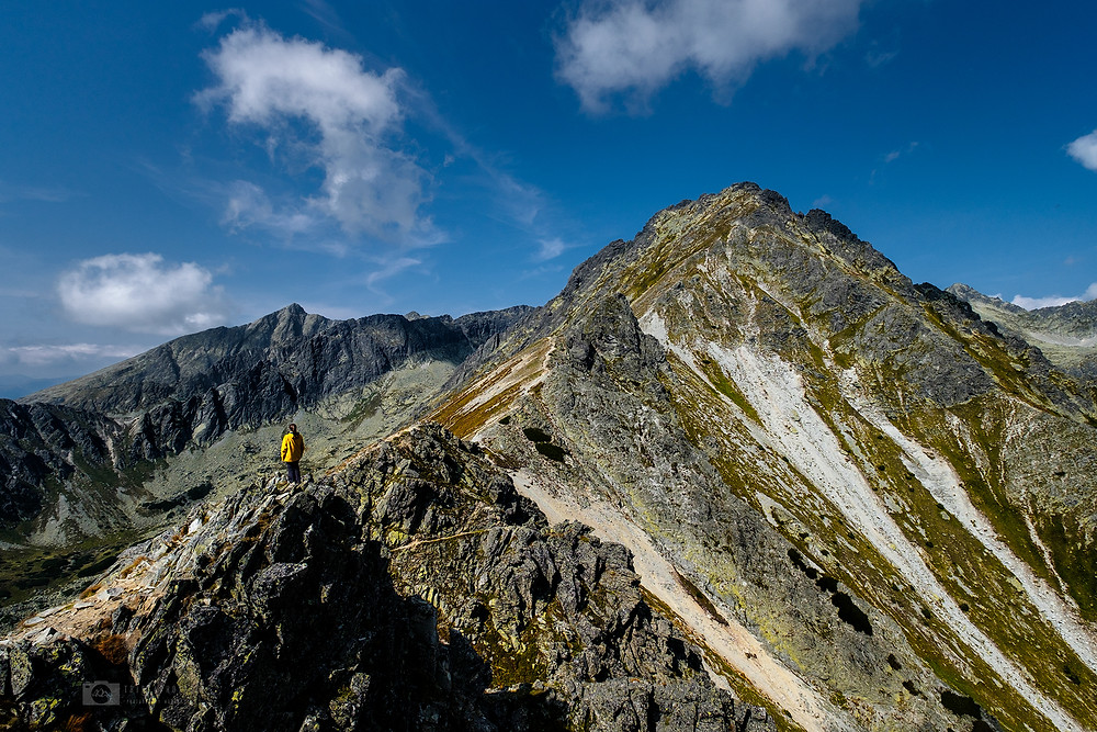 The peak of Solisko and Krivan from Prednje Solisko in the High Tatras, Slovakia