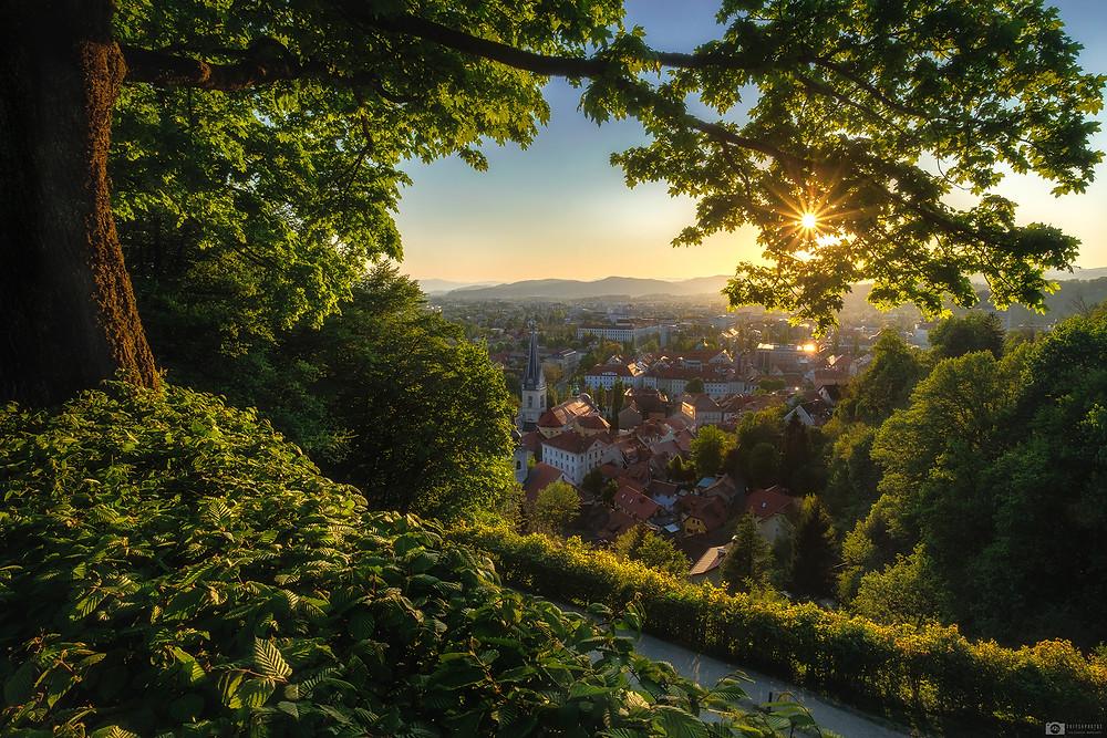 Ljubljana castle sunset