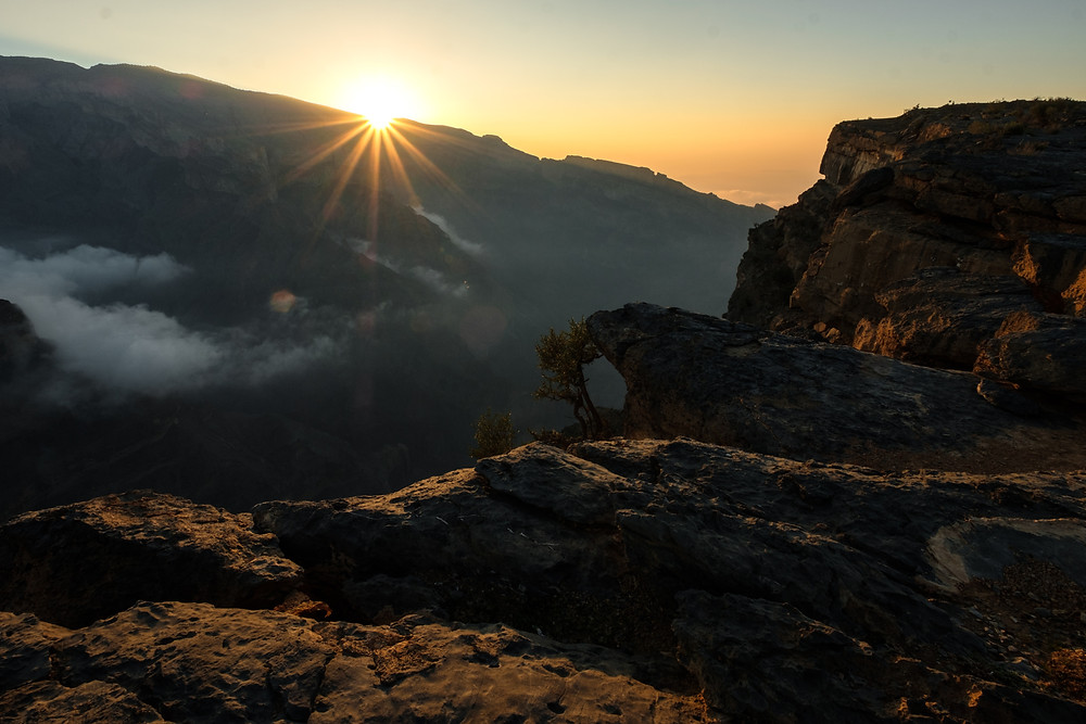 Sunrise above the Wadi Ghul in Oman