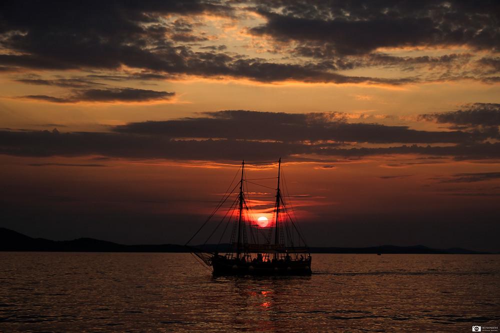 Boat, Zadar sunset, Croatia.