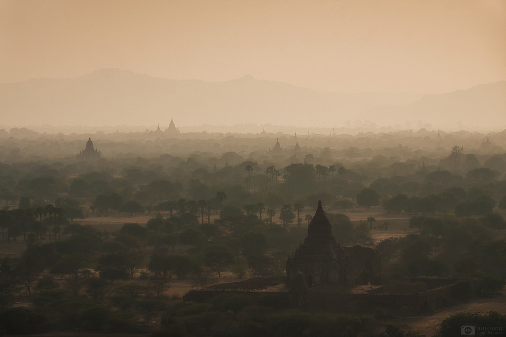 The view on the temples in Bagan, Myanmar