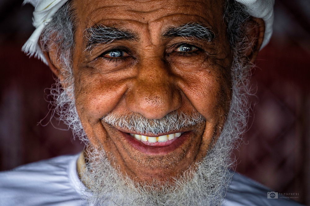 Close-up portrait of a Beduin in the town of Nizwa, Oman