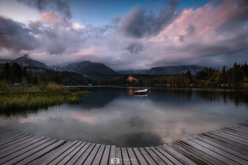 Štrbske Pleso lake in the High Tatras, Slovakia