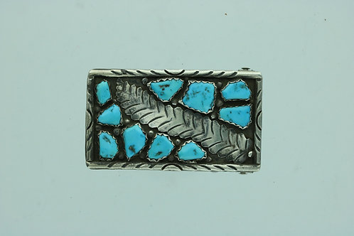 Navajo leaf-Turquoise belt buckle