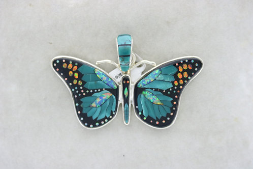 Inlaid Butterfly green/blue