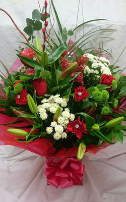 Red, white and lime hand tied