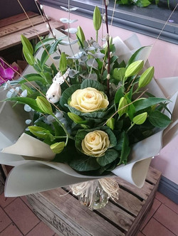 Lily and brassica hand tied