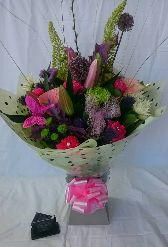 Hot pink and lavender hand tied