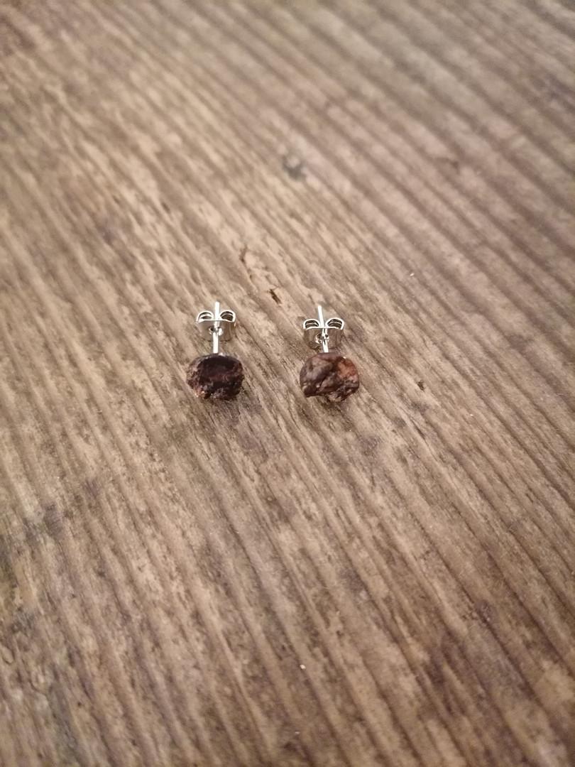 Cherry bark circular earrings