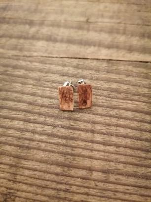 Rectangular light wood earrings