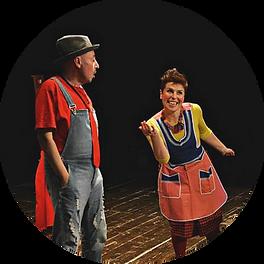 La compagnia In Scena Veritas sul palco nella rappresentazione di Hansel e Gretel