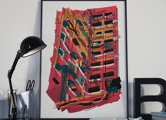 Hong Kong Red Block Poster Print