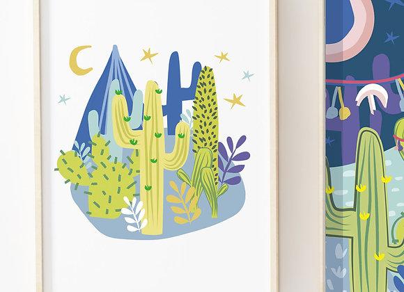 Circle Light Cactus Nightlife Poster Print