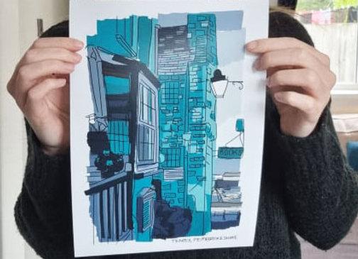Wales Tenby Blue Print