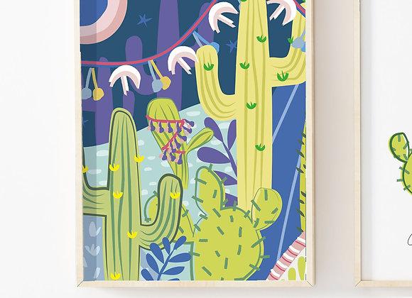 Pink Moon Cactus Nightlife Poster Print