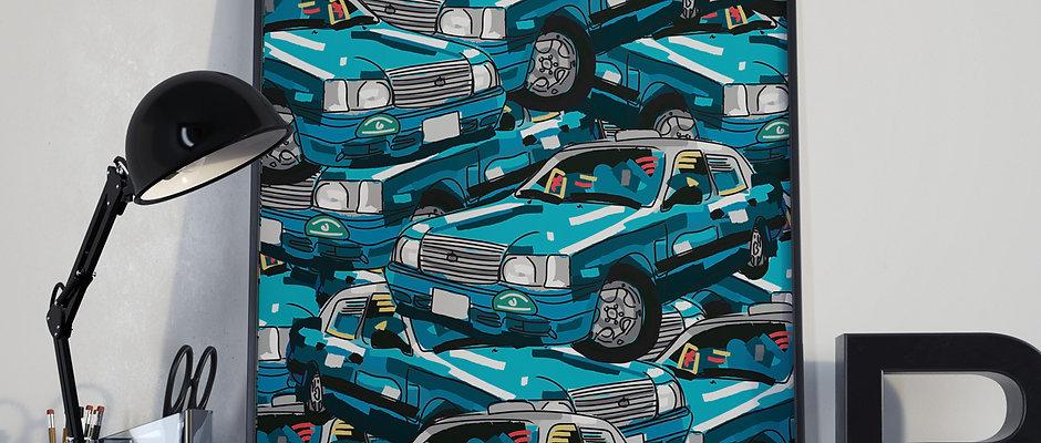 Hong Kong Blue Taxi Pattern Print