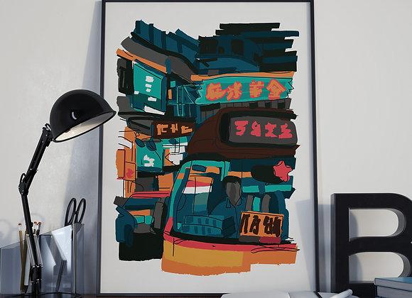 Hong Kong Minibus Street Poster Print