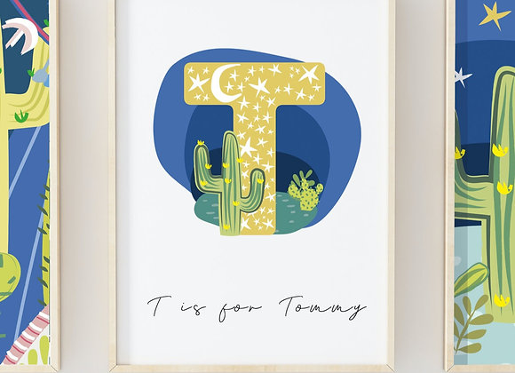 Personalised Starry Cactus Nightlife Poster Print