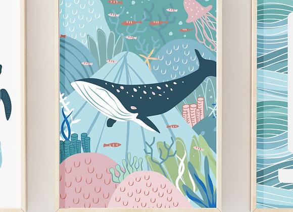 Whale Portrait Poster Print