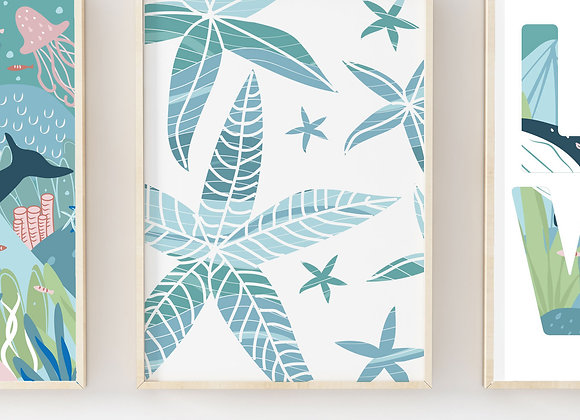 Starfish Waves Under the Sea Poster Print