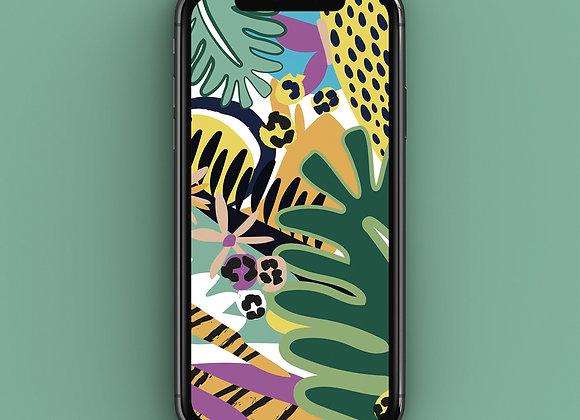 Neon Jungle Monstera Leaf Phone Screensaver