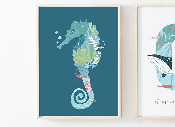 Navy Seahorse Portrait Poster Print