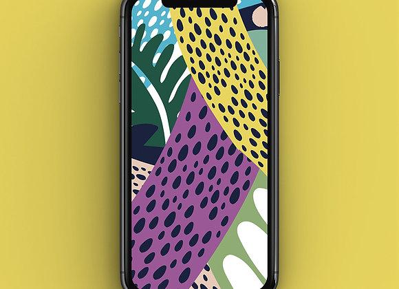 Neon Jungle Leopard Print Phone Screensaver
